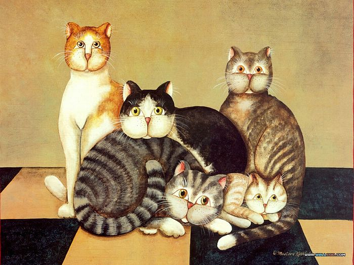 Funny Cats - Cat Paintings by Donna Masters Kriebel 3 ...
