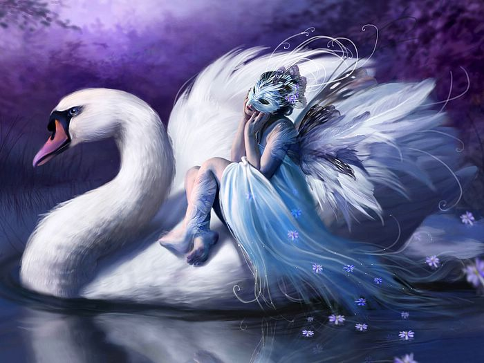swan wallpaper. Fantasy CG Girls Wallpapers by