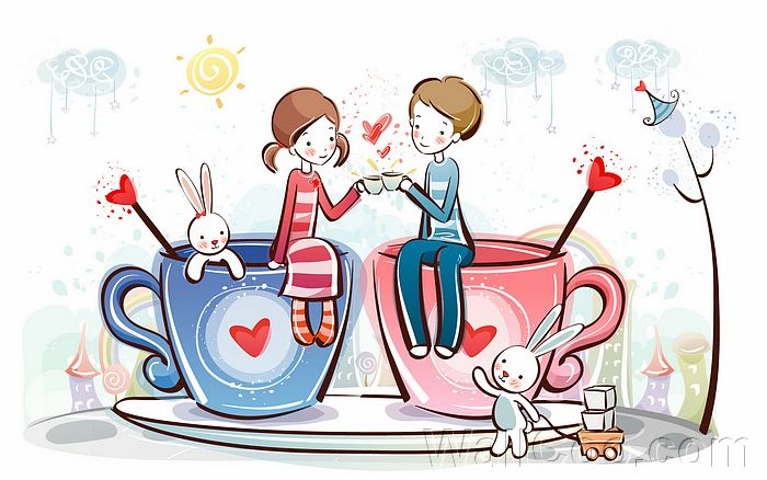 cute cartoon images of love. Young Love - Valentine Cute Couple illustrations - Love coffee - Valentine