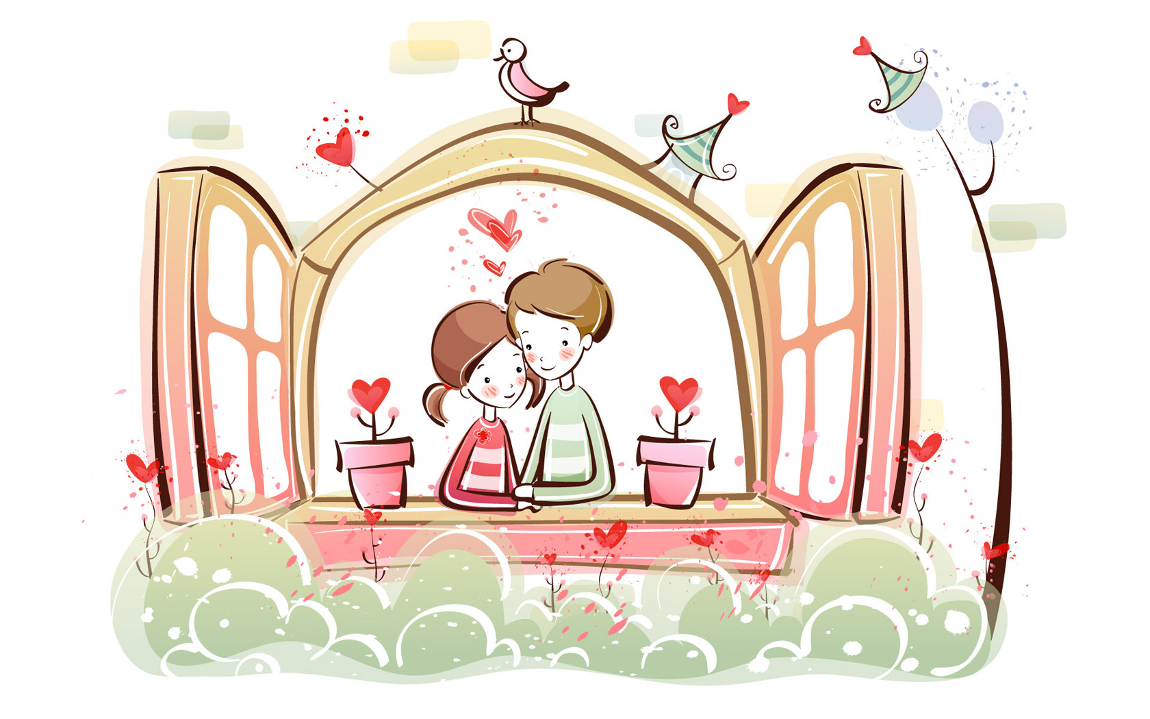 Valentine's Day Couple Cartoon
