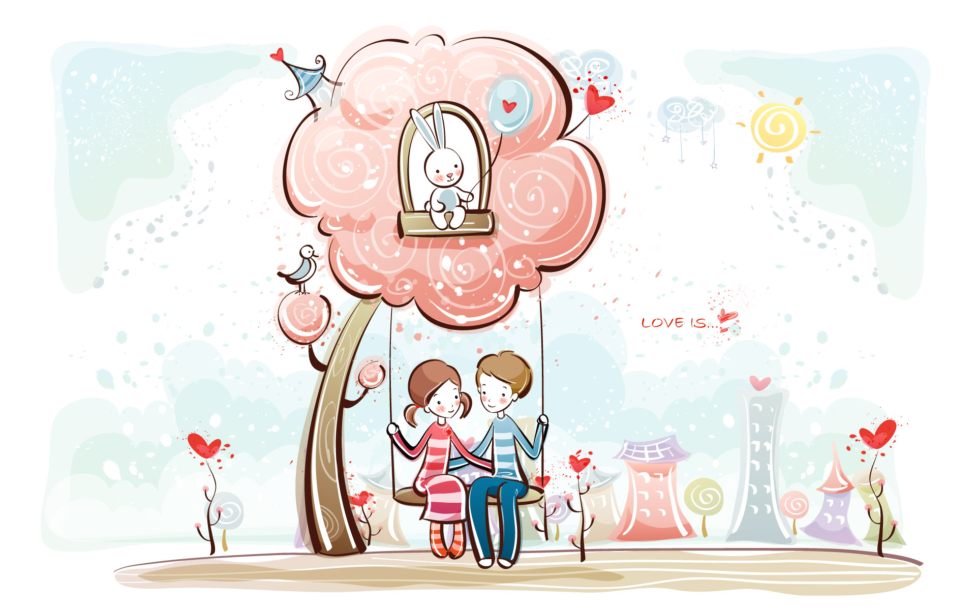 cartoon Wallpaper Of Love couple : couple in love under a tree wallpaper - 384155