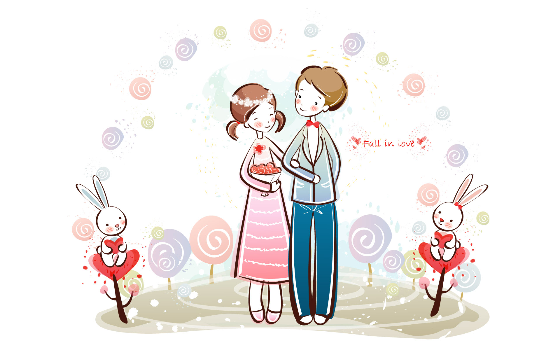 Wallpaper Fall In Love cartoon : couple cartoon wallpaper 238275