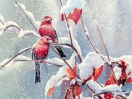 Songbirds in Garden - Watercolor Paintings of Cute Little Birds 12 pics