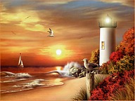 Lighthouse Paintings 9 pics